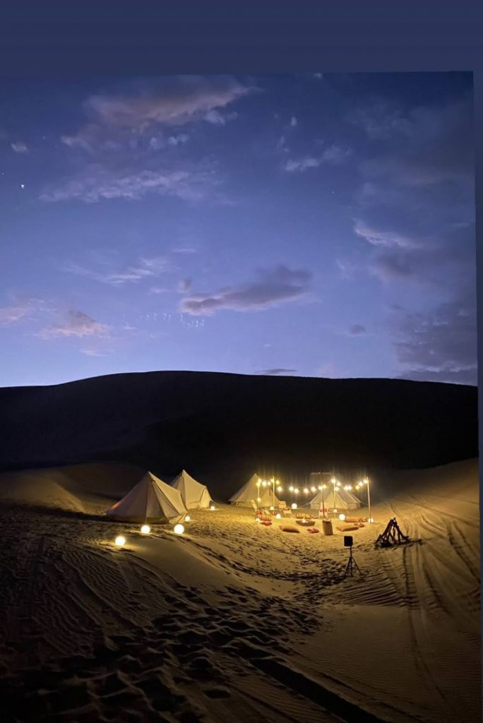 Glamping under the stars after a day of sand dune buggy riding and sand surfing